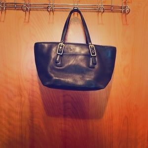 Mini Coach Tote Black Leather